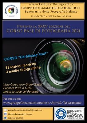 XXXV Corso Base di Fotografia 2021 (Con Certificazione FIAF)